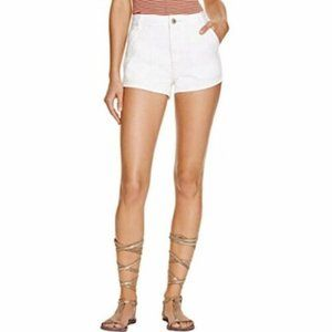 FREE PEOPLE White Lace Trim Denim Shorts